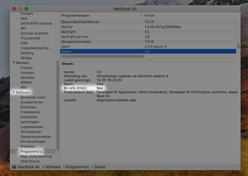 64-bits check macOS high sierra