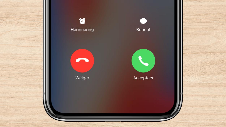iPhone X oproep aannemen screenshot