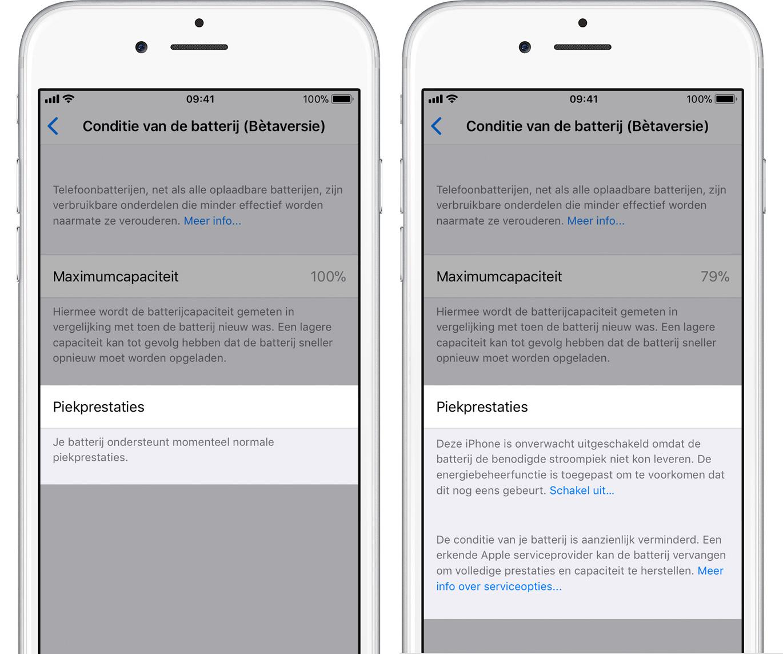 iOS 11.3 conditie batterij