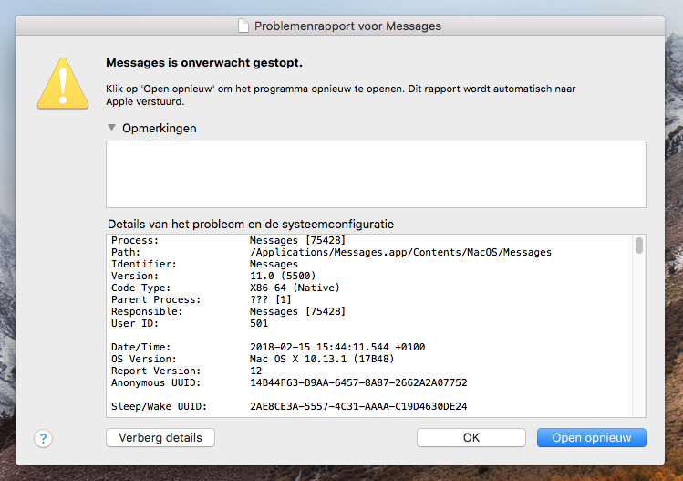 mac crash teken