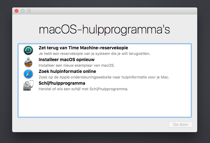 macos high Sierra hulpprogramma's screenshot