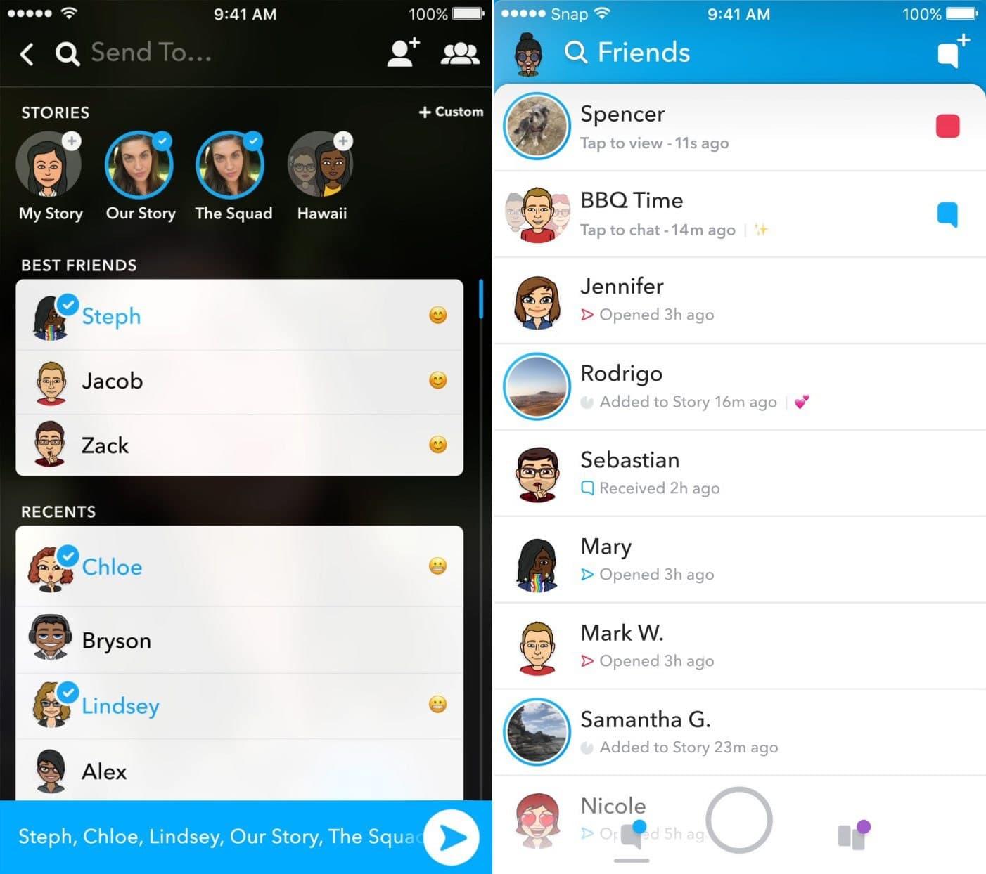 nieuwe Snapchat screenshots