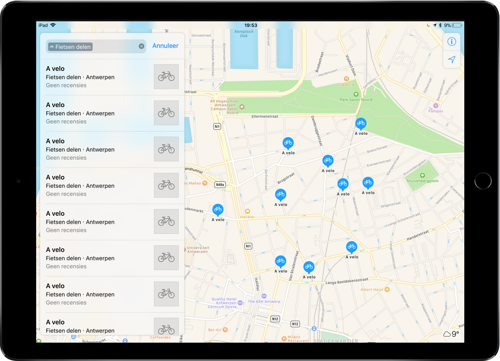 Apple Maps fietsen delen screenshot