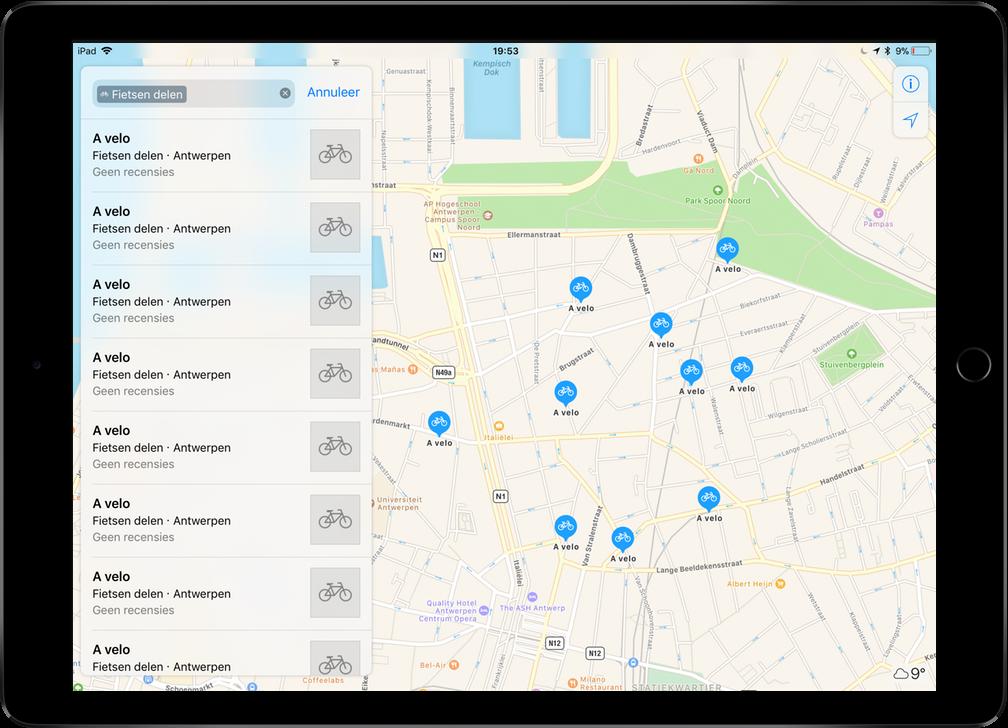 Apple Maps fietsen delen screenshot