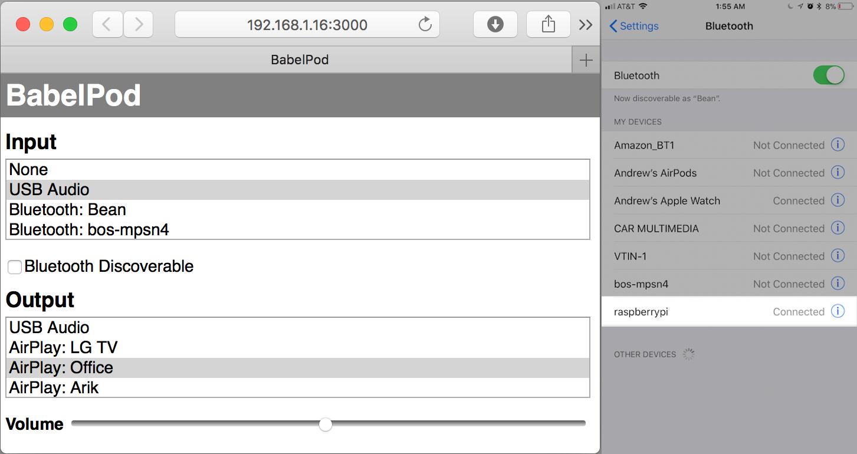 BabePod HomePod Webinterface Screenshot