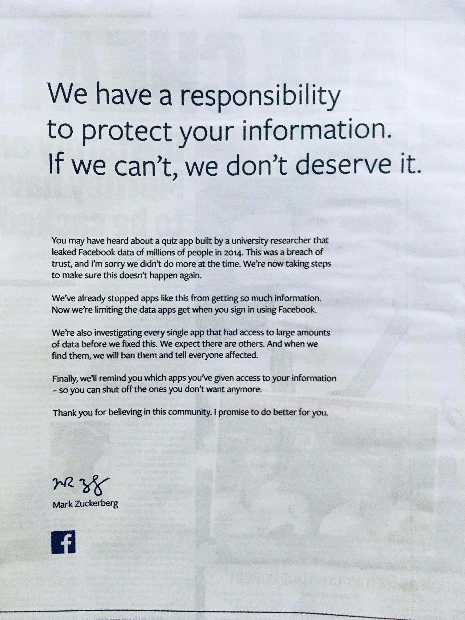 Facebook advertentie in krant na schandaal Cambridge Anaytica