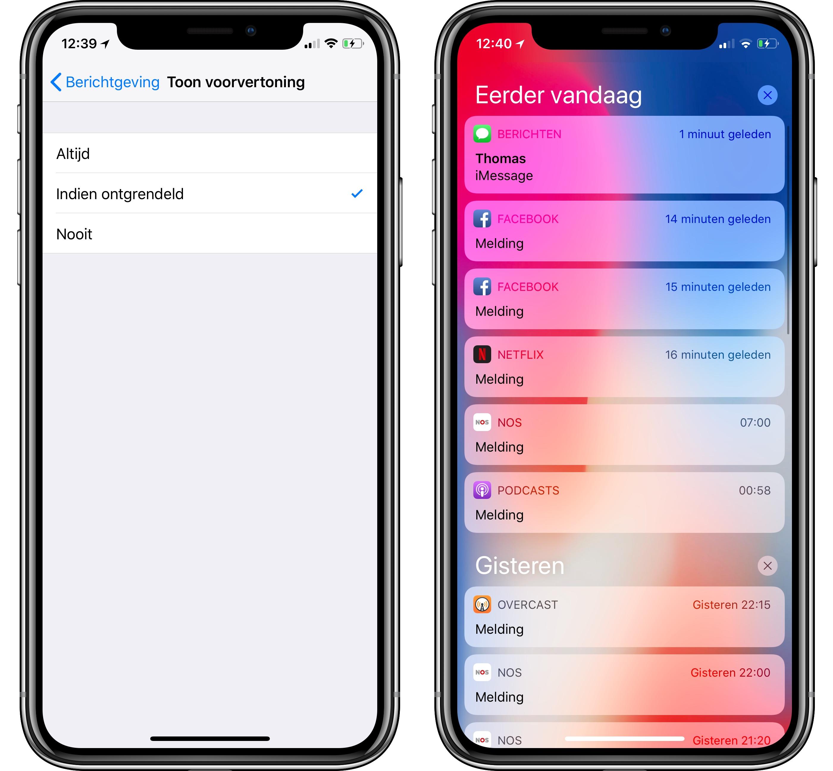 iOS 11 berichten verbergen