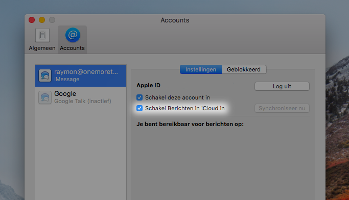 iMessage in iCloud macOS High Sierra 10.13.5