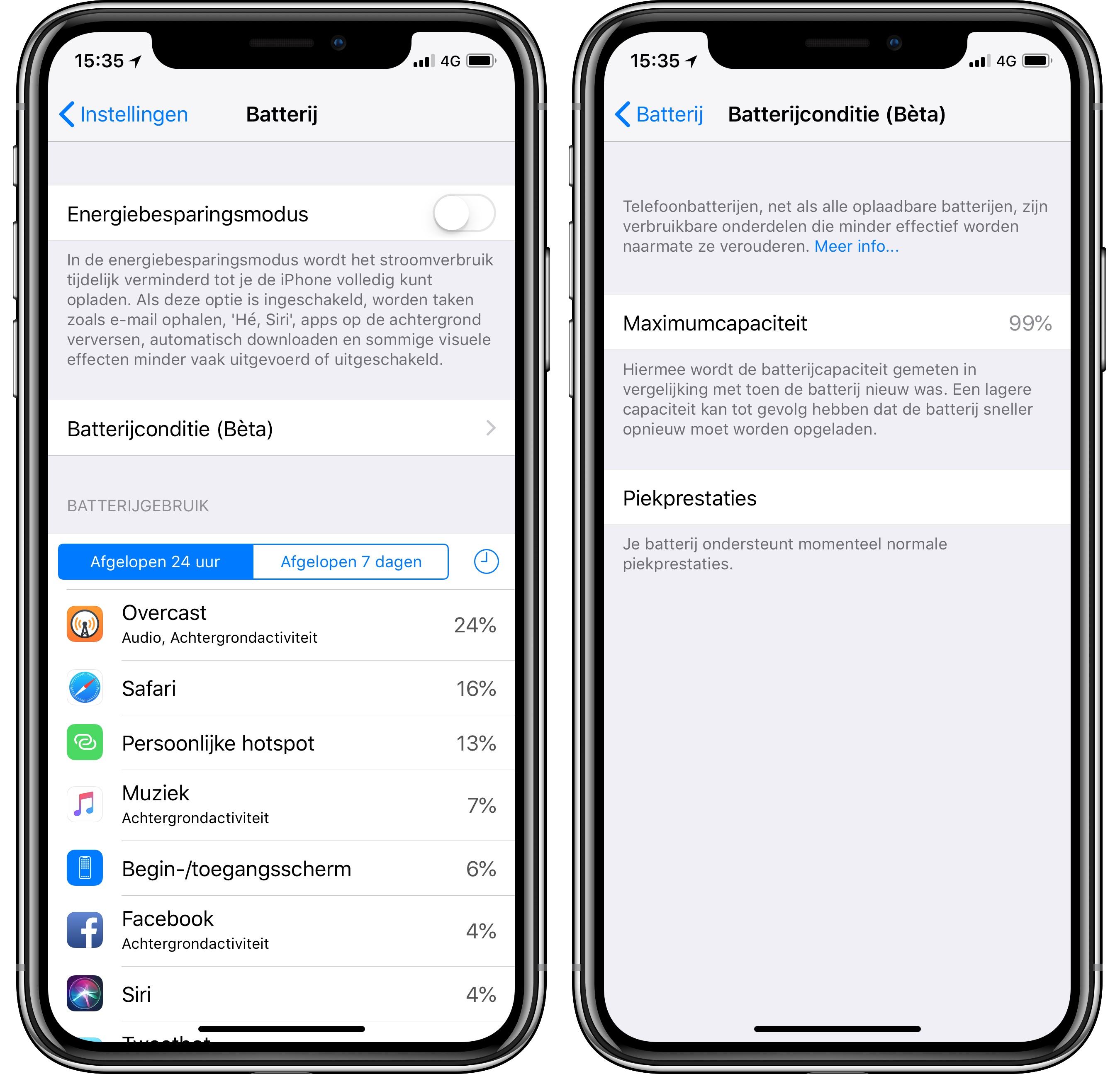 iOS 11.3 iPhone batterijconditie