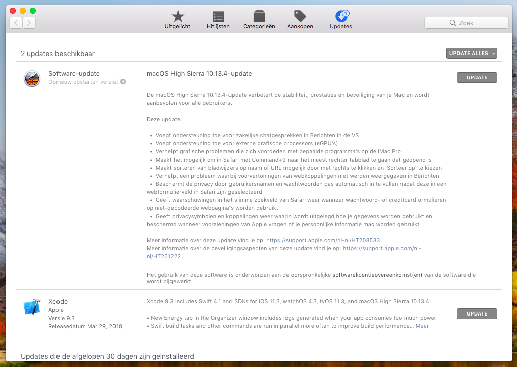 macOS High Sierra installeren via Mac App Store