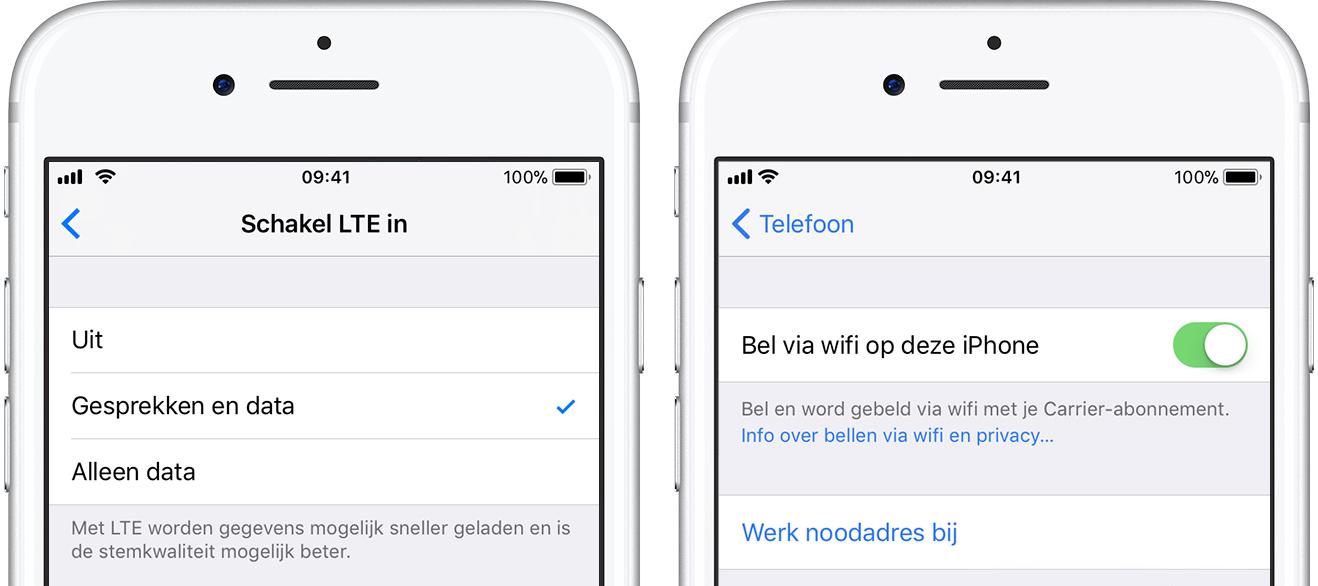 Bellen via 4G en WiFi iPhone