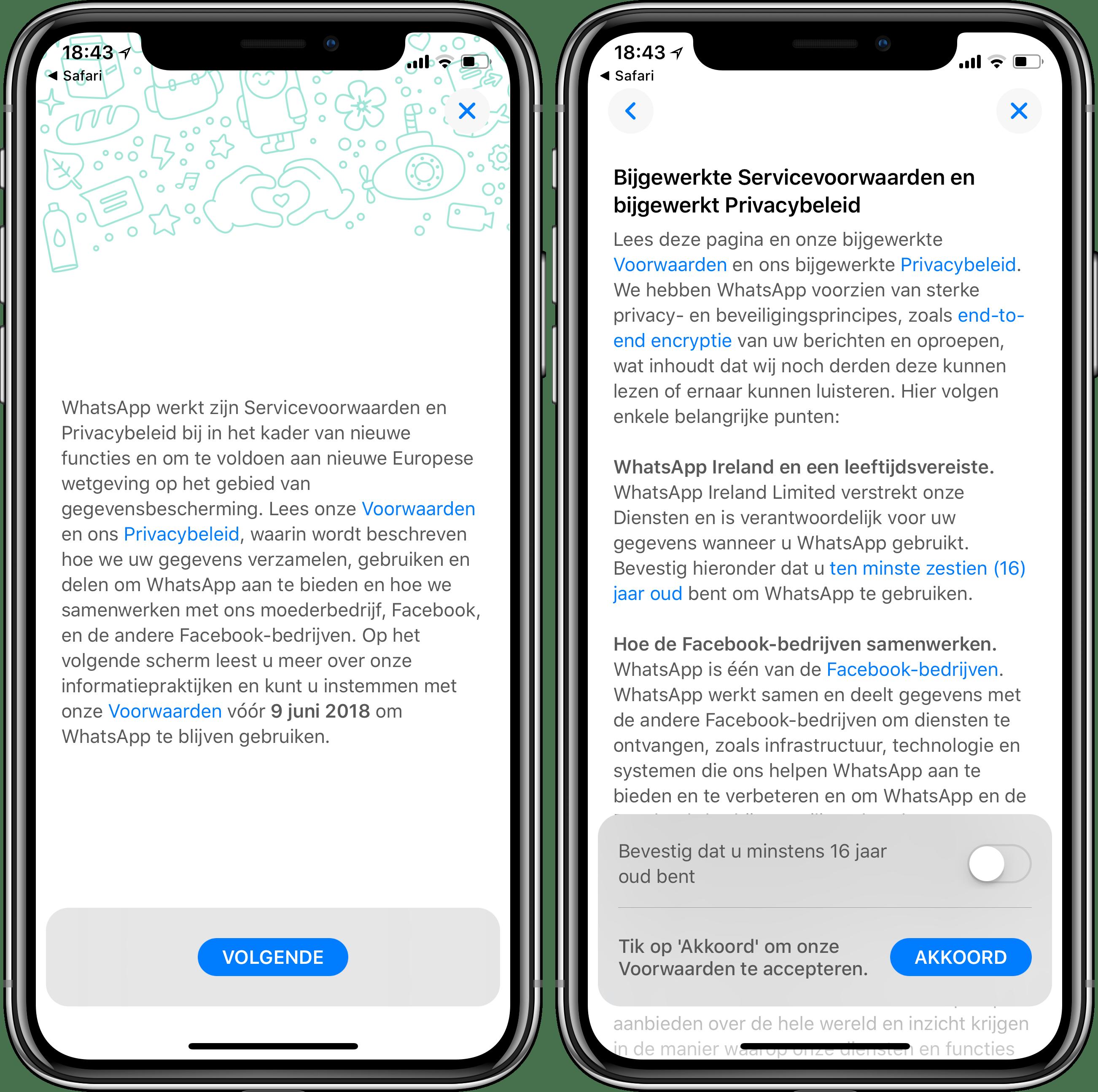 WhatsApp nieuwe voorwaarden data