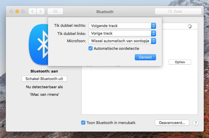 AirPods Bluetooth opties Mac