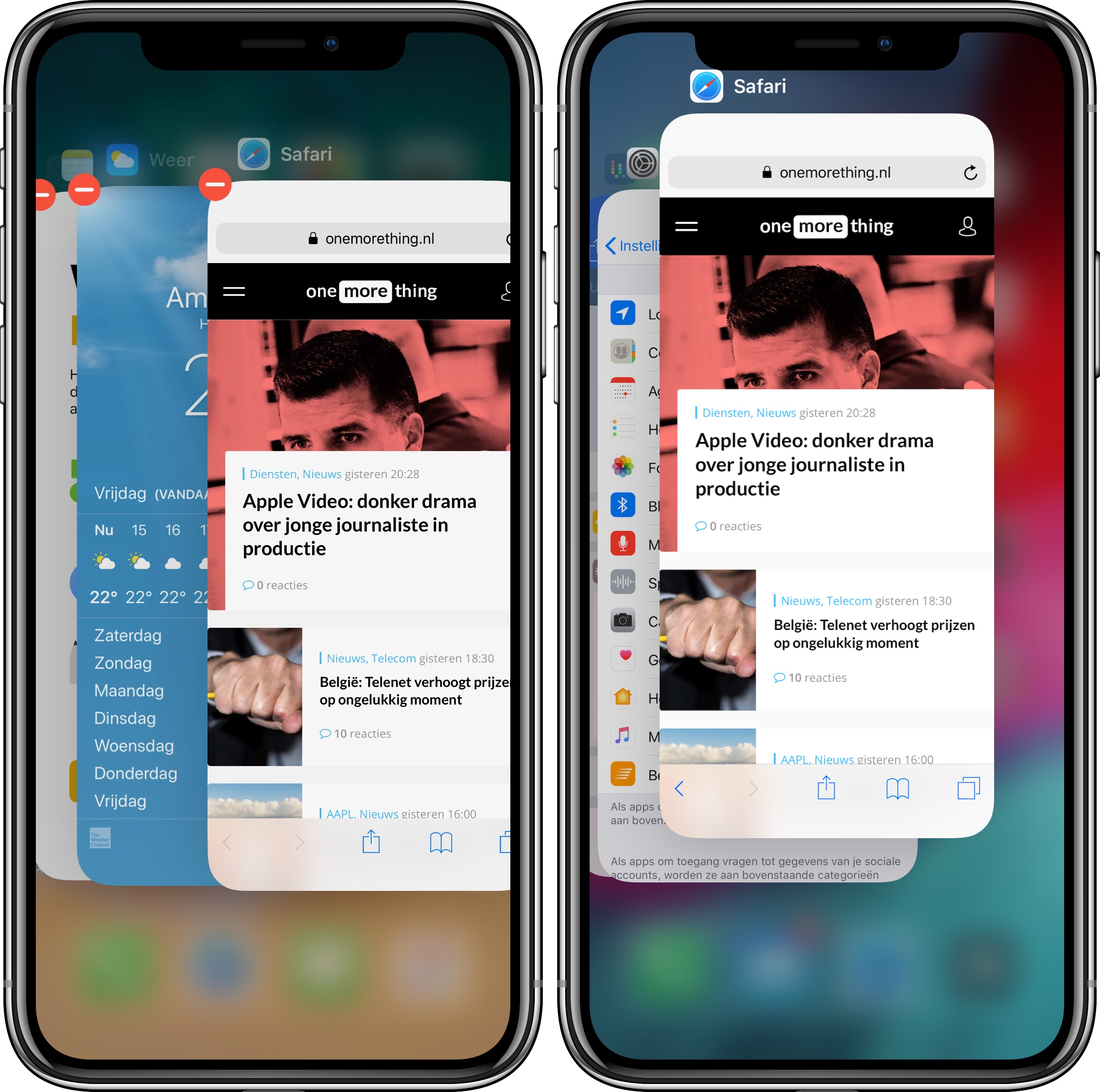 apps sluiten iPhone X iOS 11 vs iOS 12