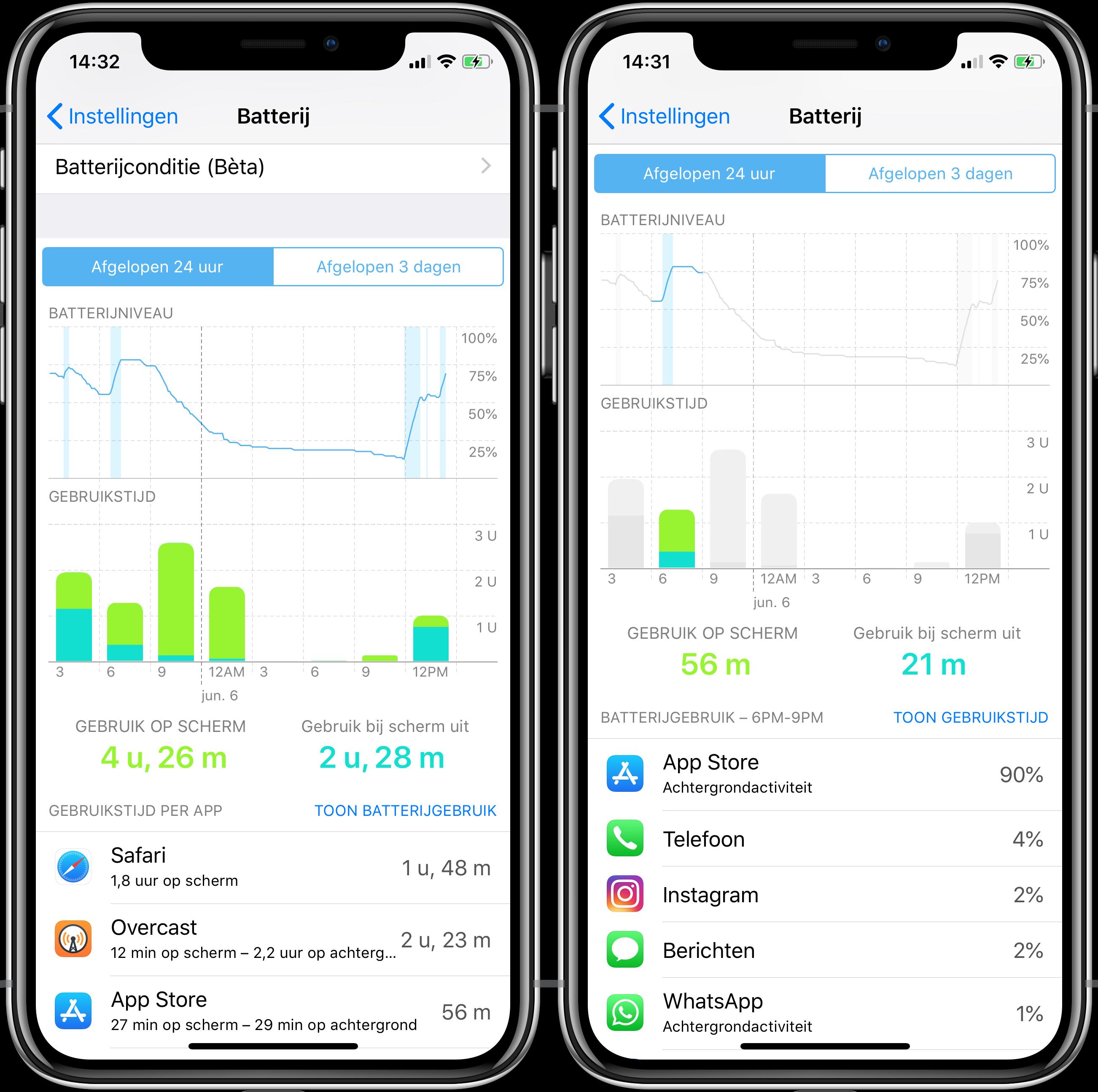 iOS batterij informatie screenshot