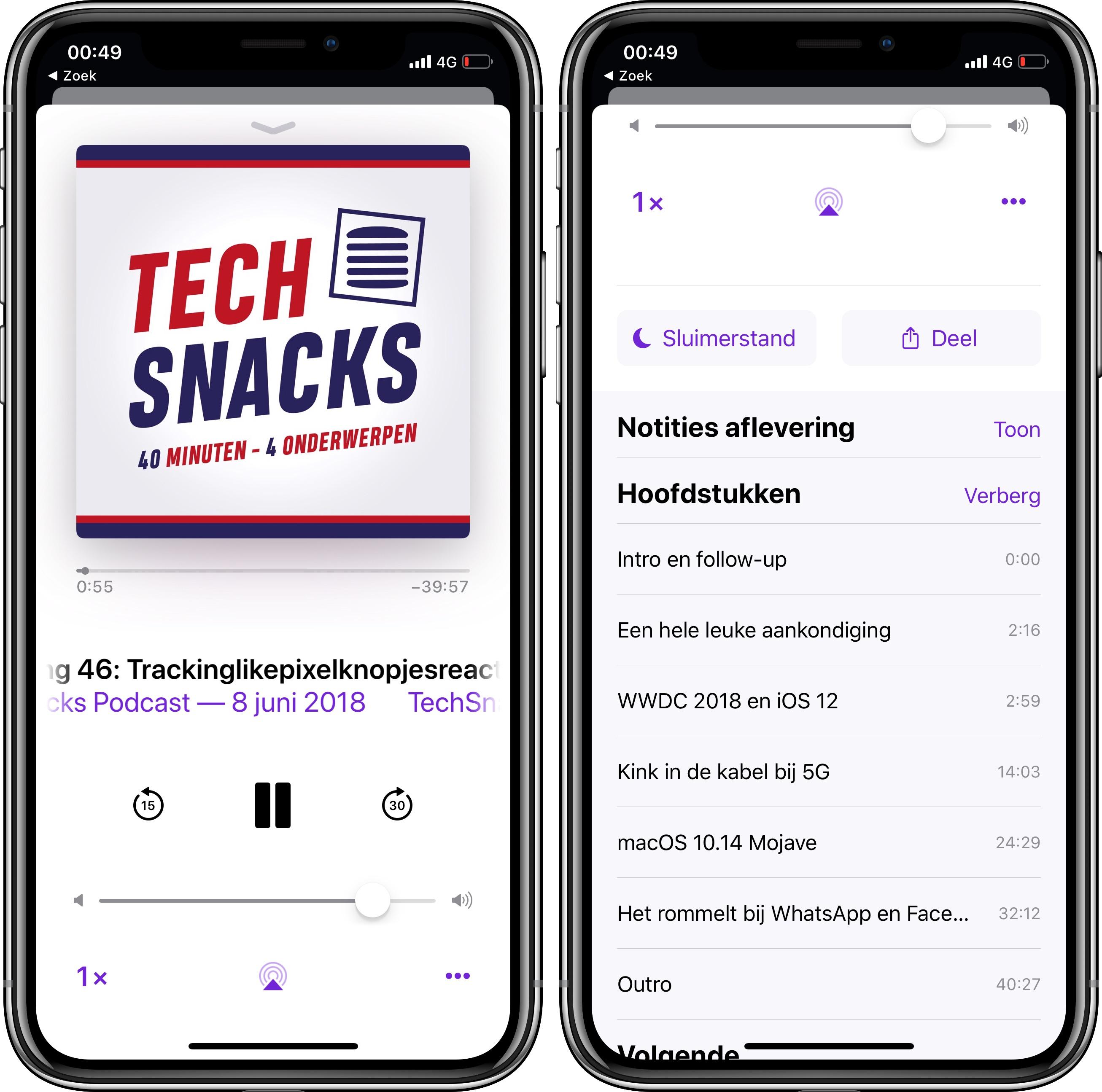 iOS 12 podcasts hoofdstukken