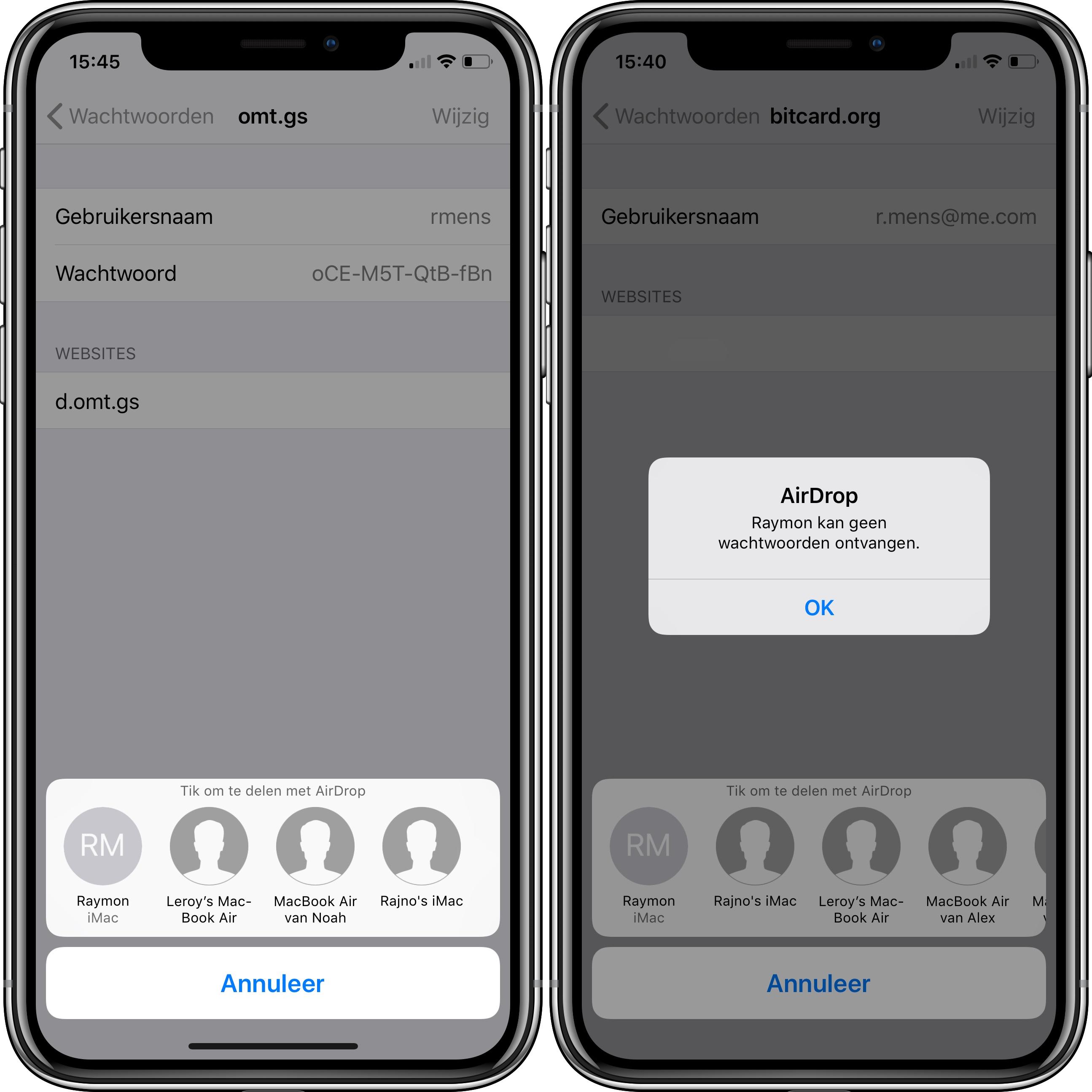 iOS 12 wachtwoord versturen