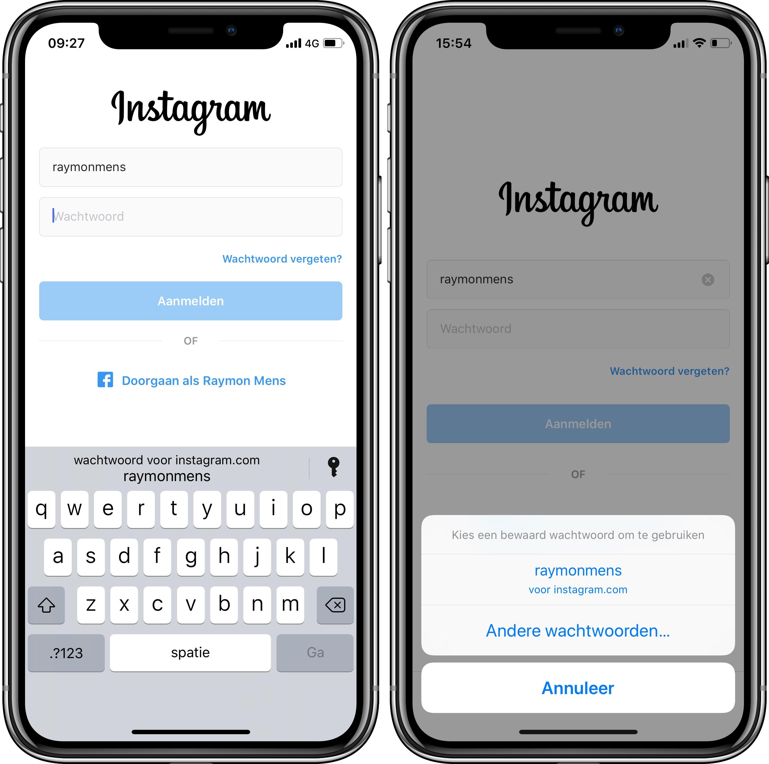 iOS 12 wachtwoorden