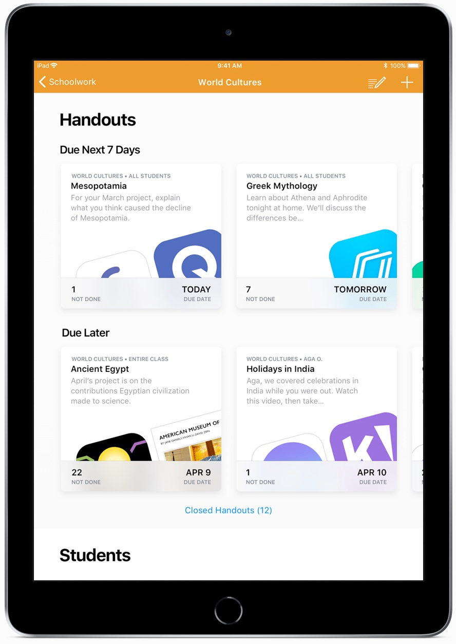 Apple schoolwerk-app
