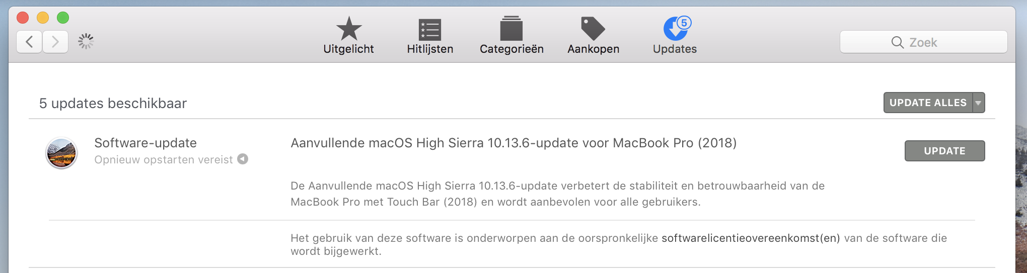 MacBook Pro 2018 software-update