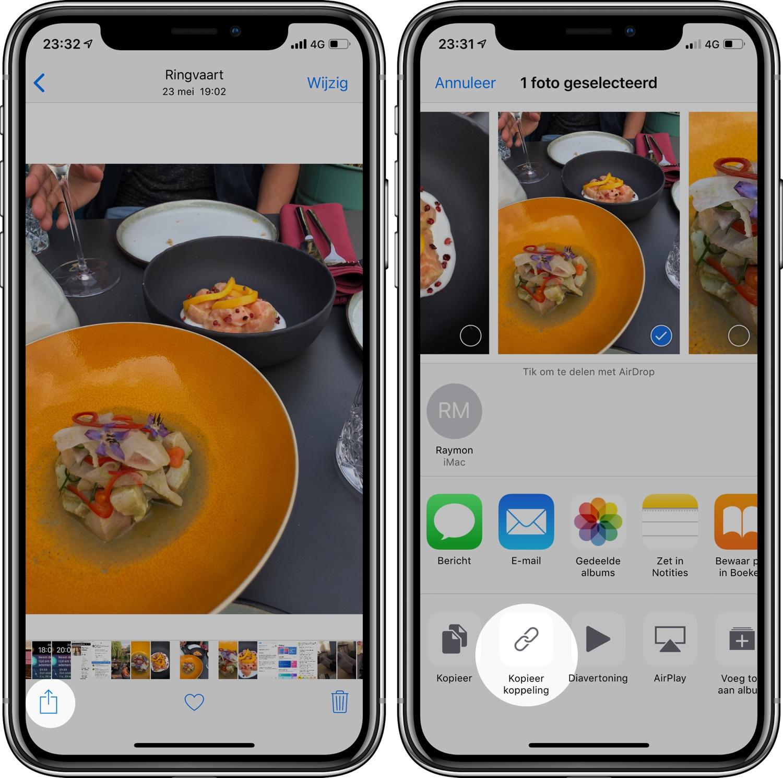 iOS 12 foto's delen link