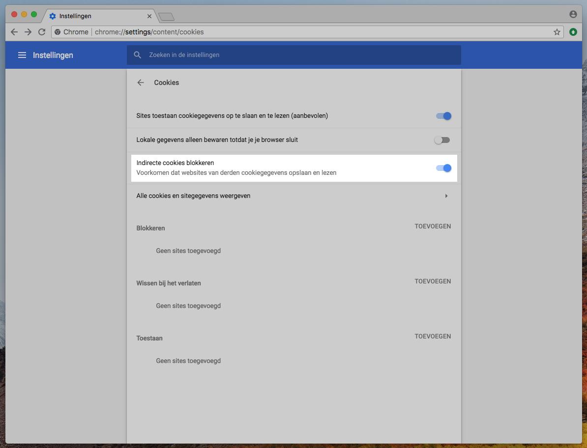 Google Chrome Privacy Cookies blokkeren