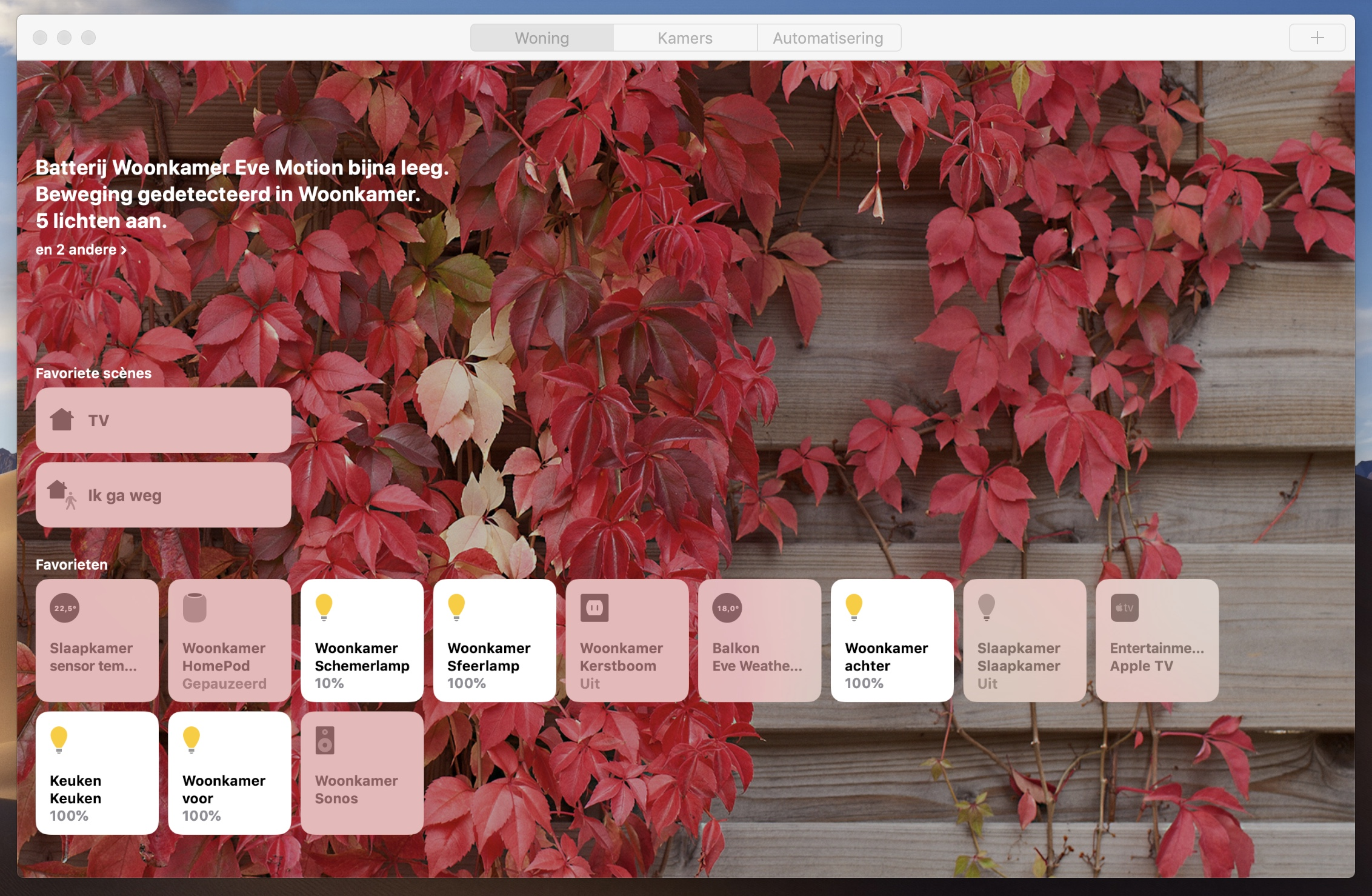 Woning-app macOS Mojave HomeKit