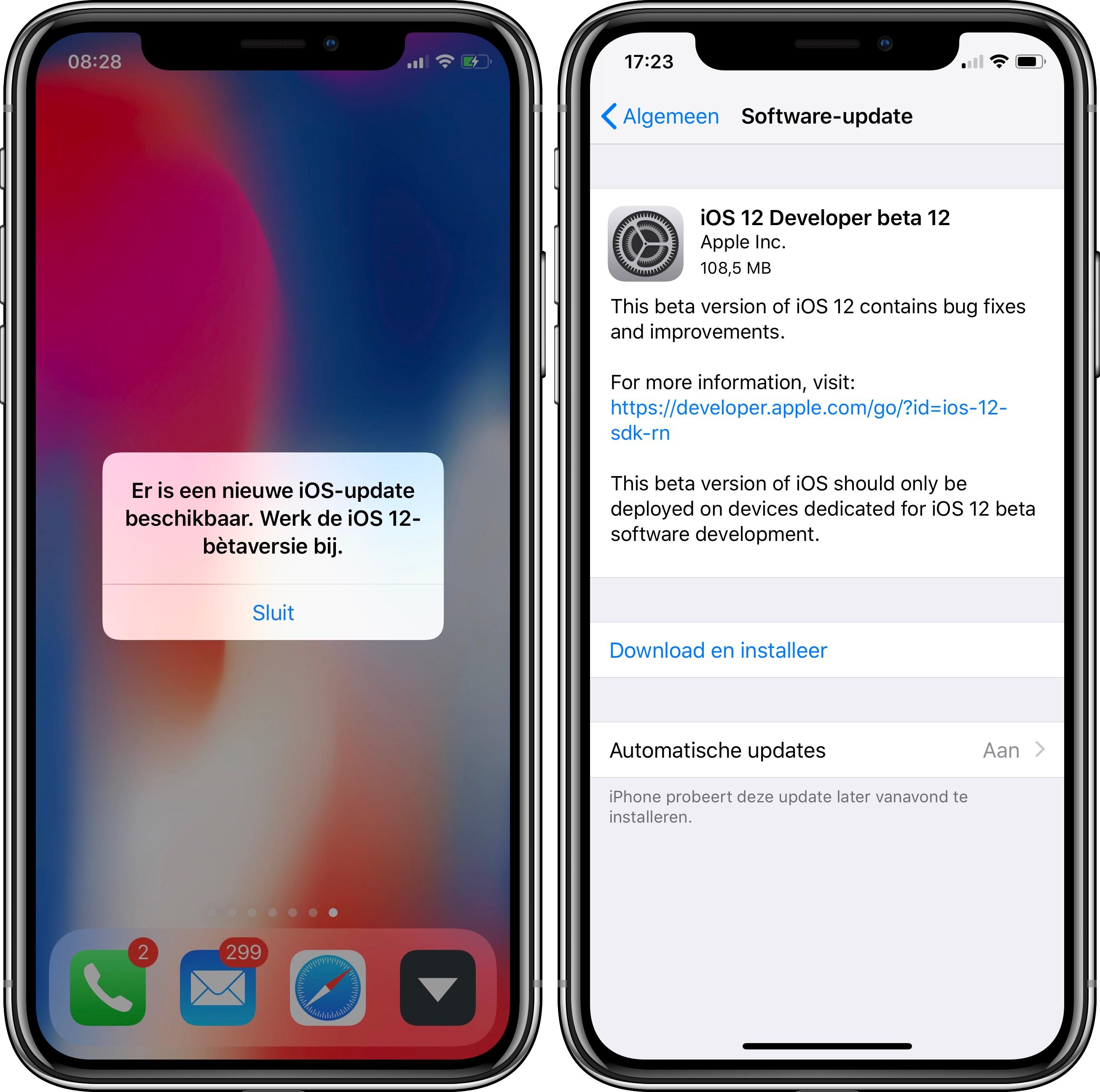 iOS 12 update meldingen