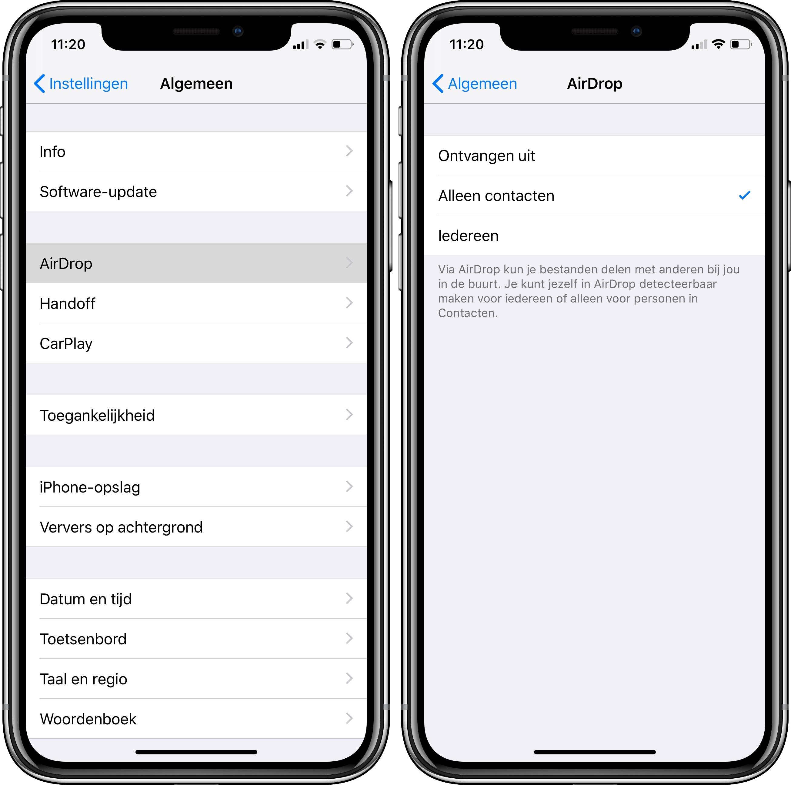 AirDrop iPhone beperken