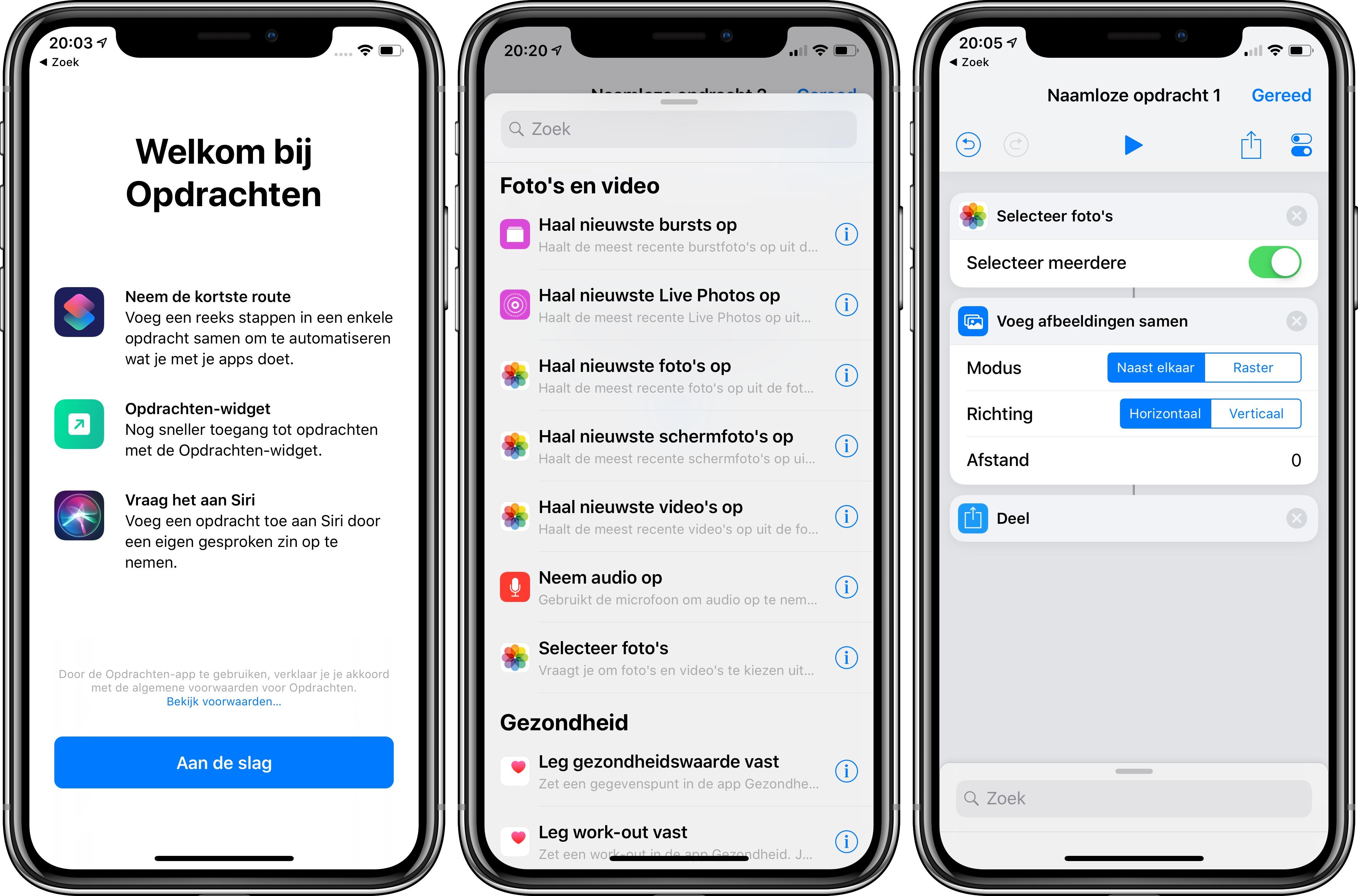 Siri Shortcuts Opdrachten-app