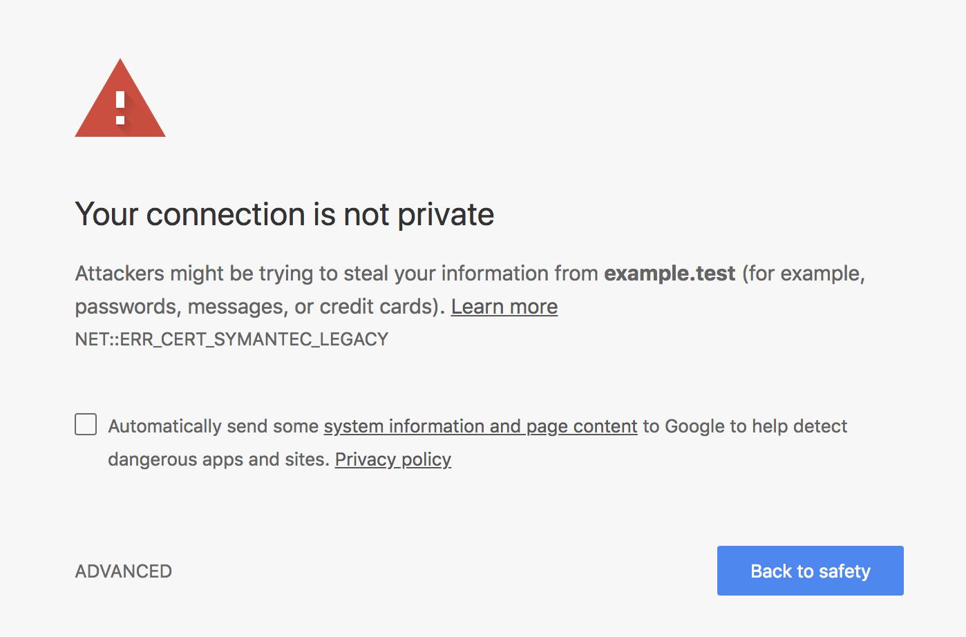 Google Chrome waarschuwing