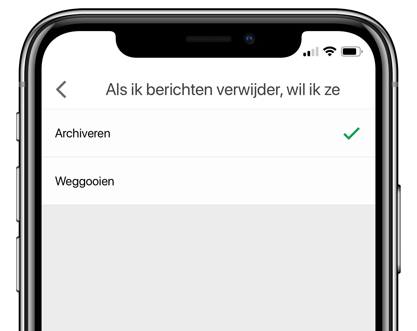 gmail ios app berichten verwijderen archiveren
