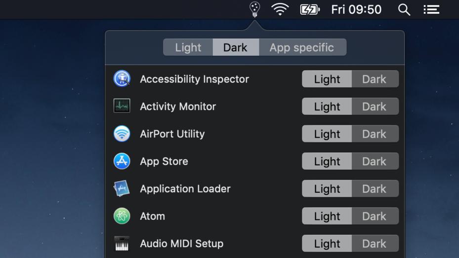 Dark Mode macOS MOjave per app