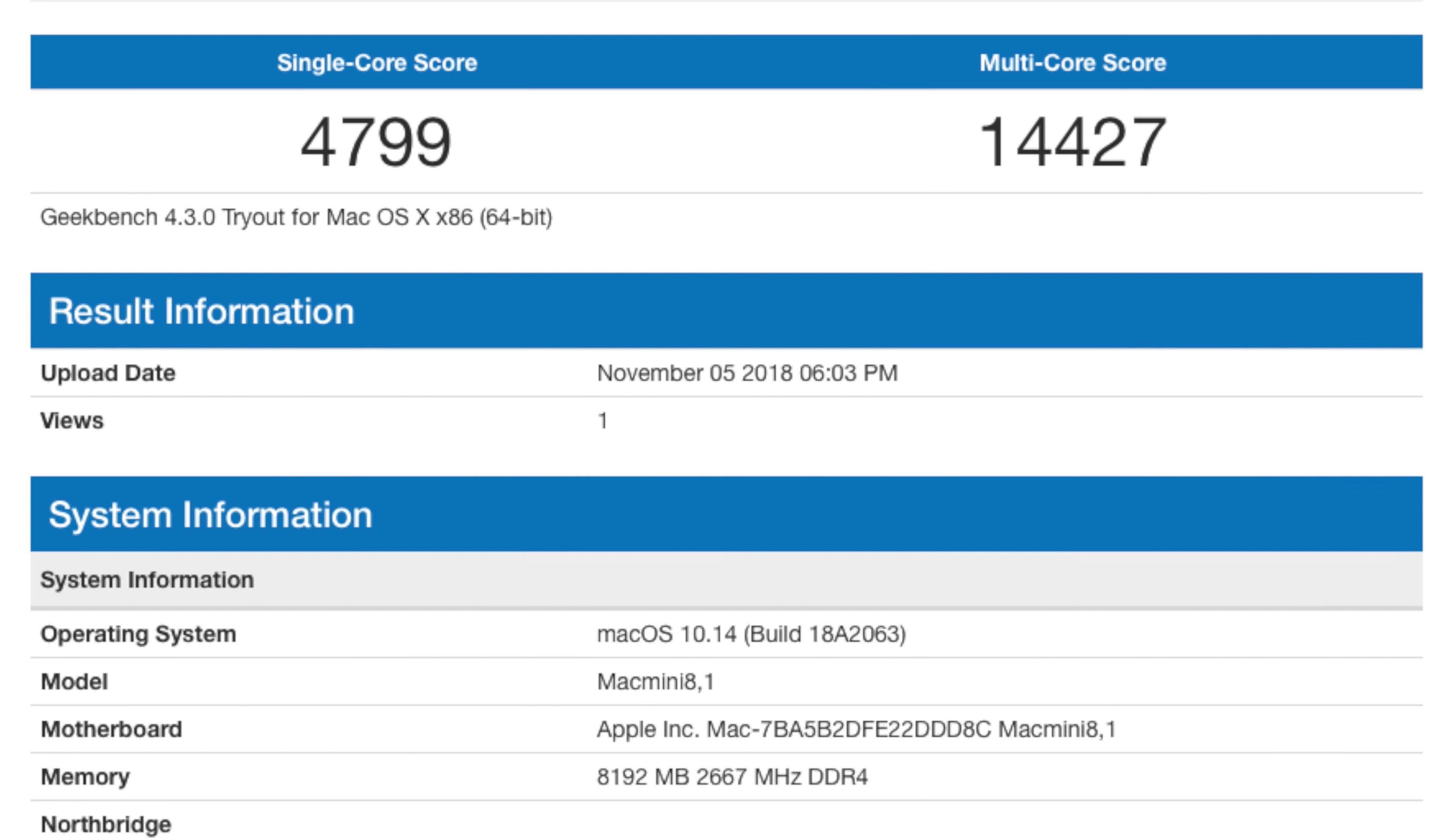 Mac mini 2018 benchmark