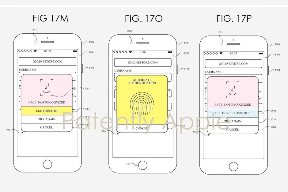 iPhone Touch ID Face ID patent