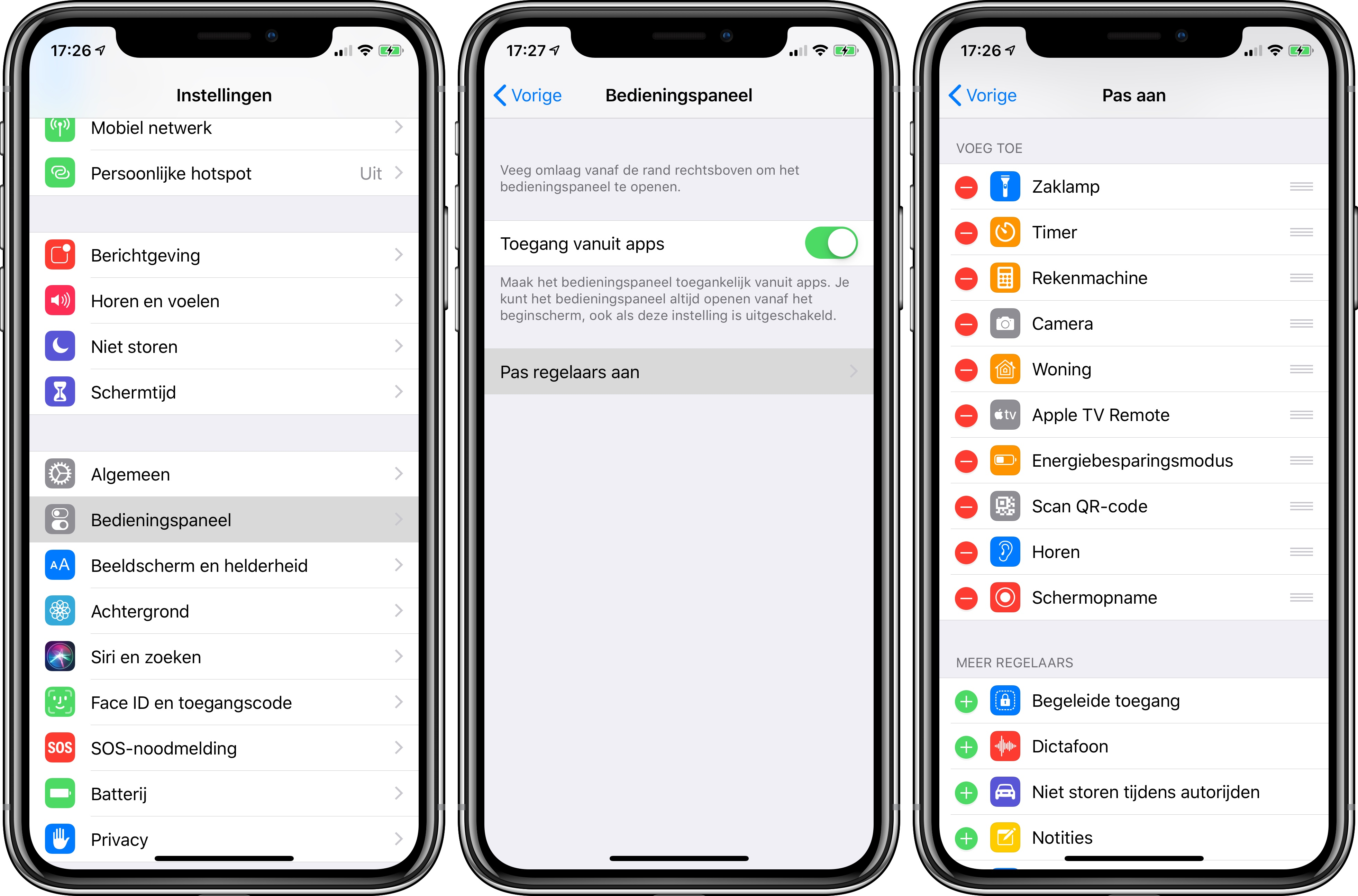iOS bedieningspaneel control center aanpassen