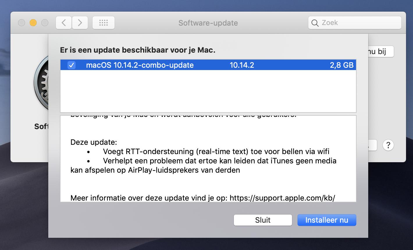 macOS Mojave 10.14.2 update