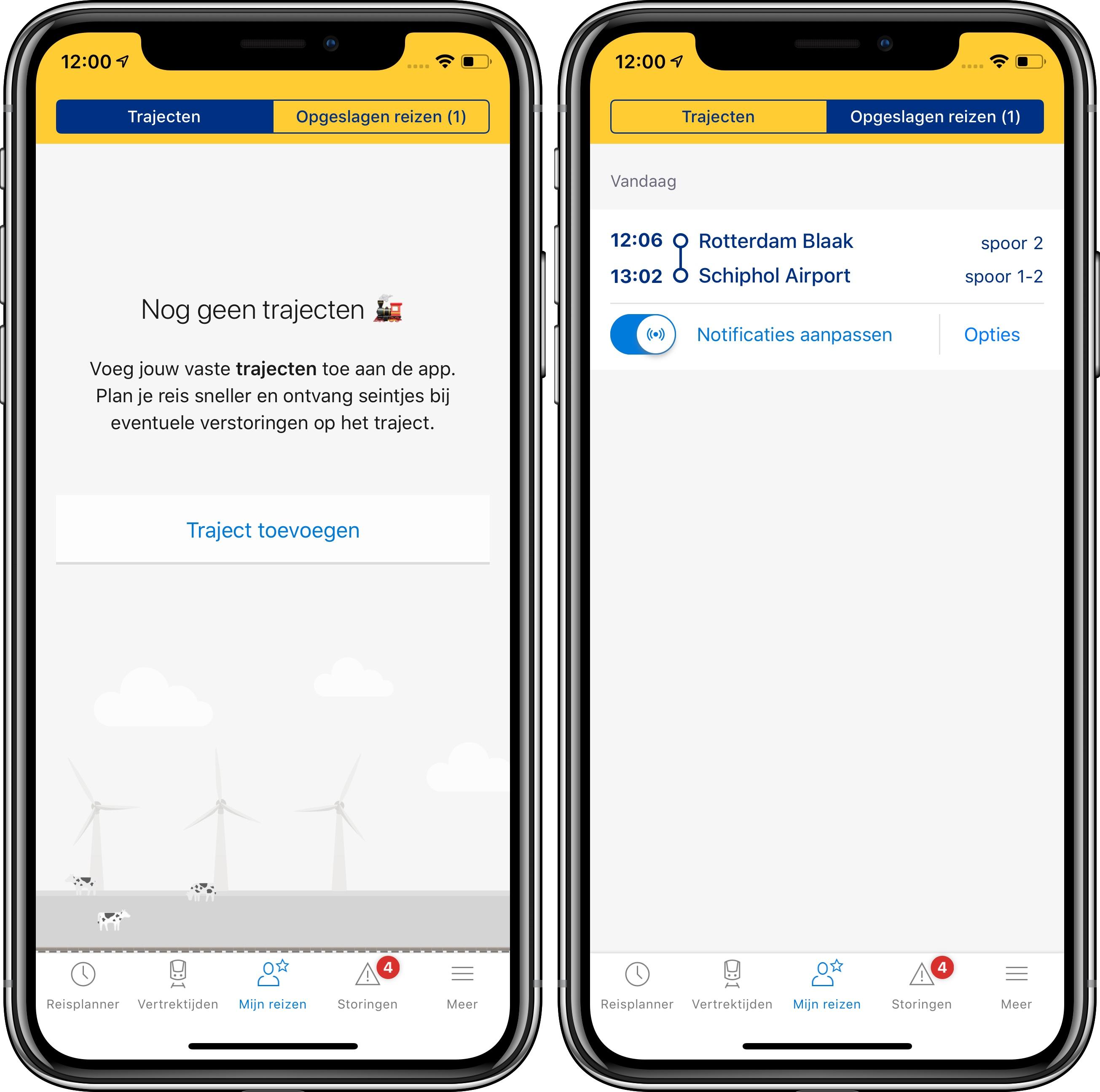 NS-app iPhone mijn reizen