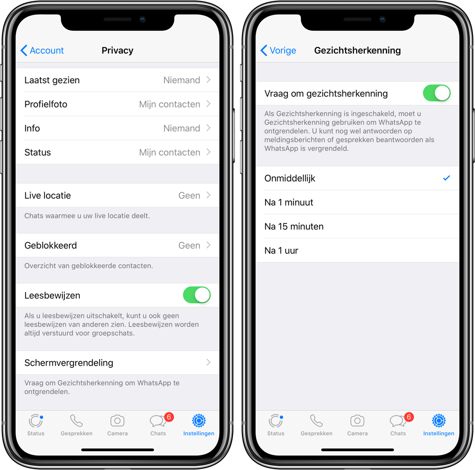 WhatsApp touch id face id iPhone screenshot