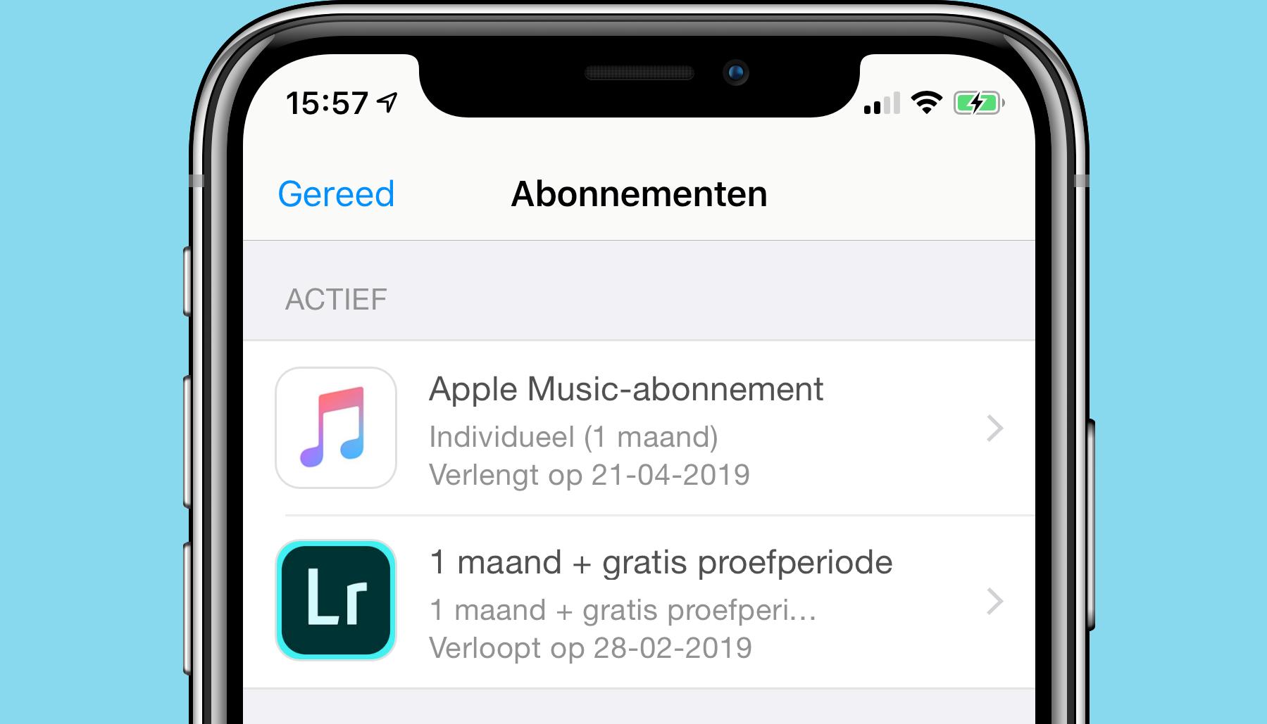 iOS 12.2 app-abonnementen