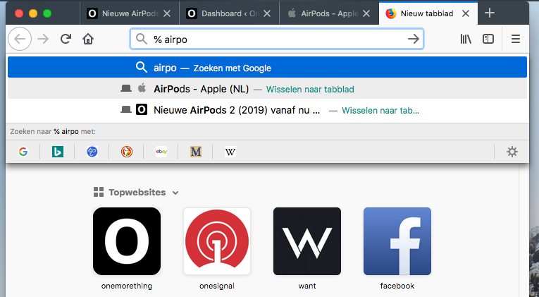 Firefox tabbladen