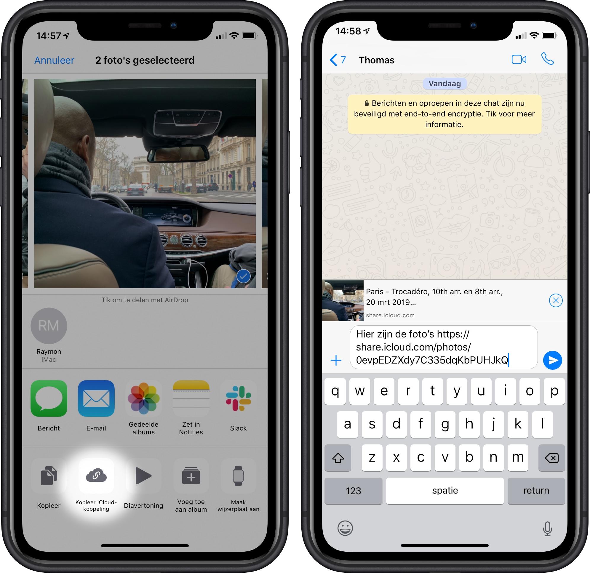 foto's versturen iPhone icloud