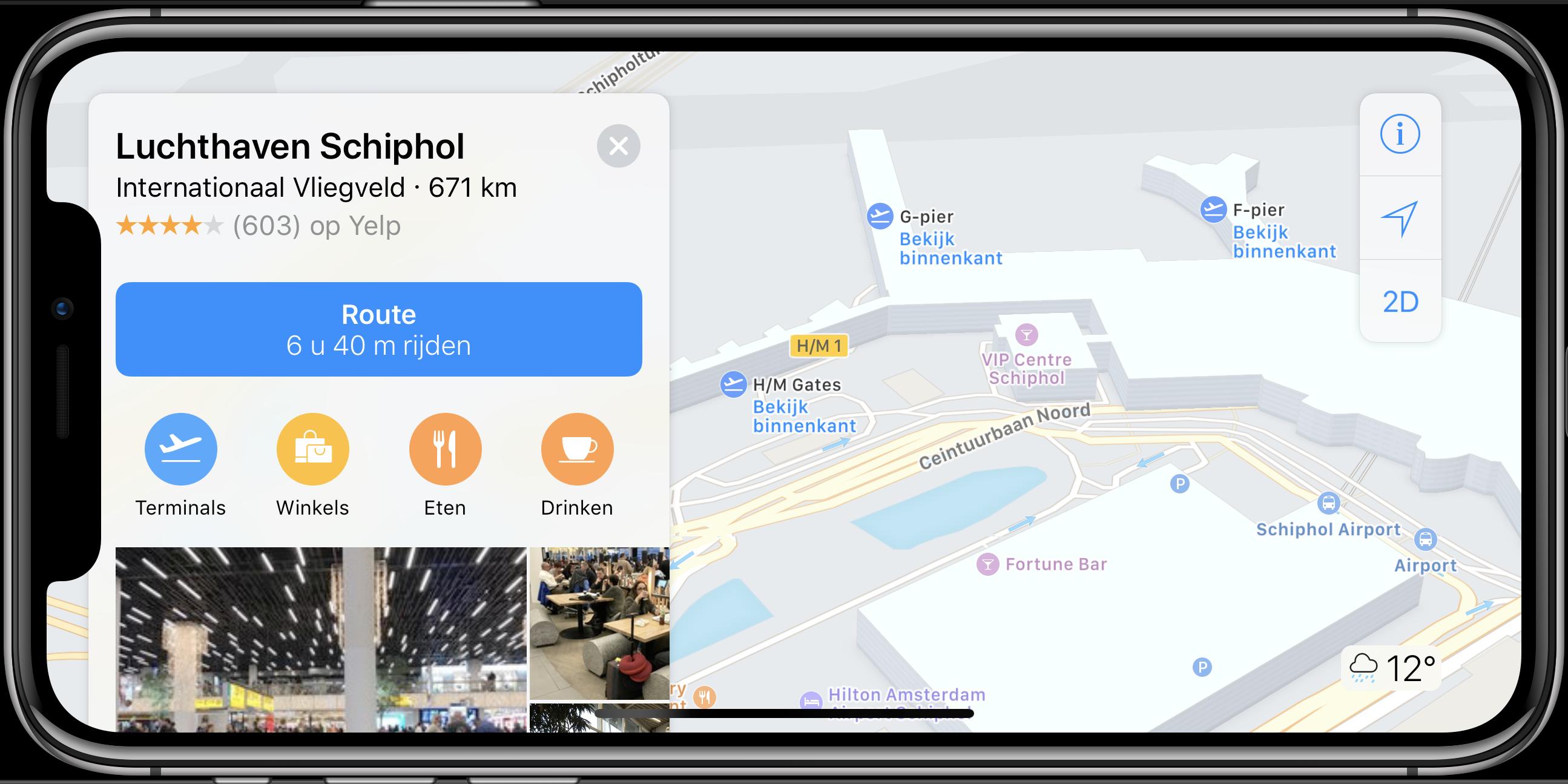 iPhone indoor navigatie schiphol