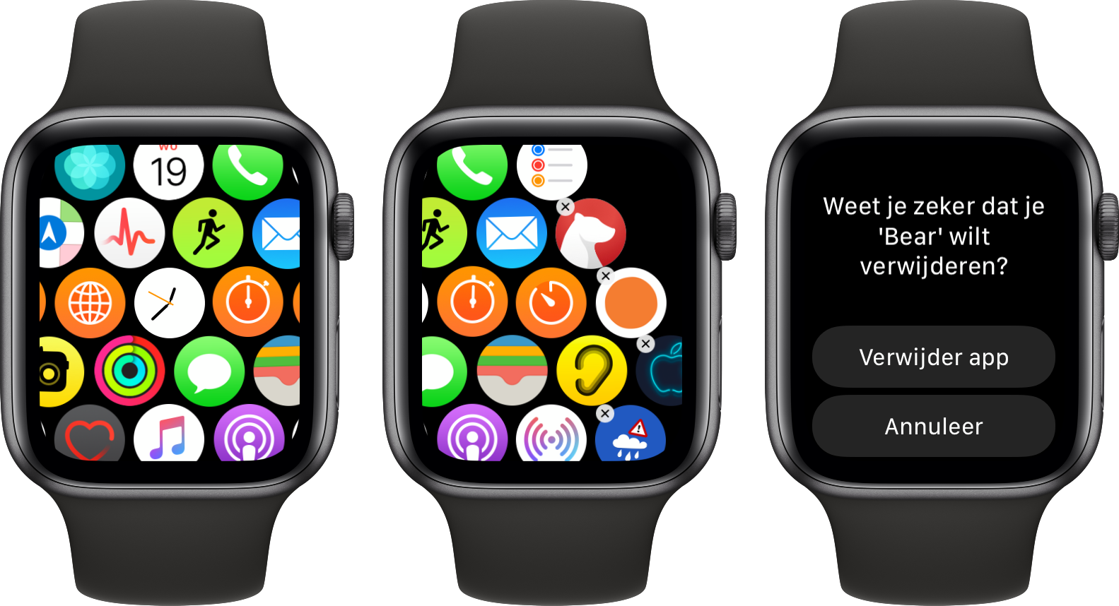 Apple Watch verwijderen standaard apps watchOS 6