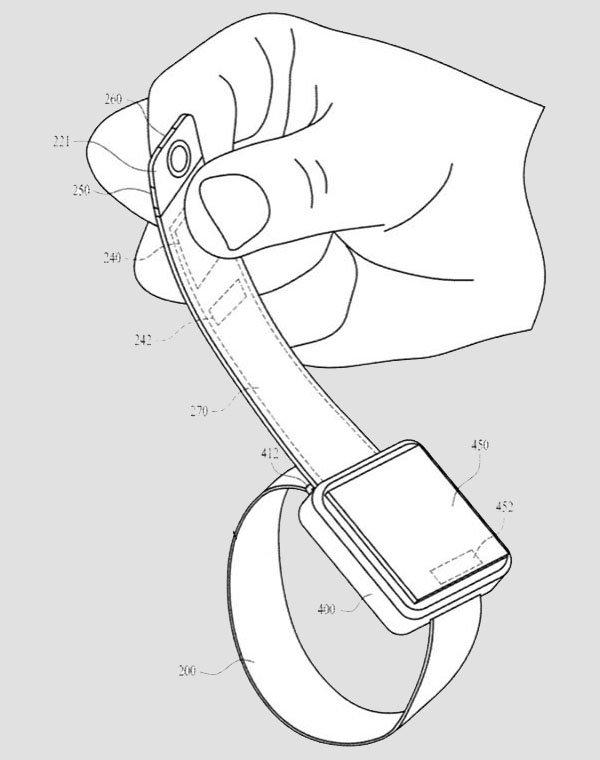 De flap van het bandje van de Apple Watch kan worden uitgetrokken voor meer bewegingsvrijheid