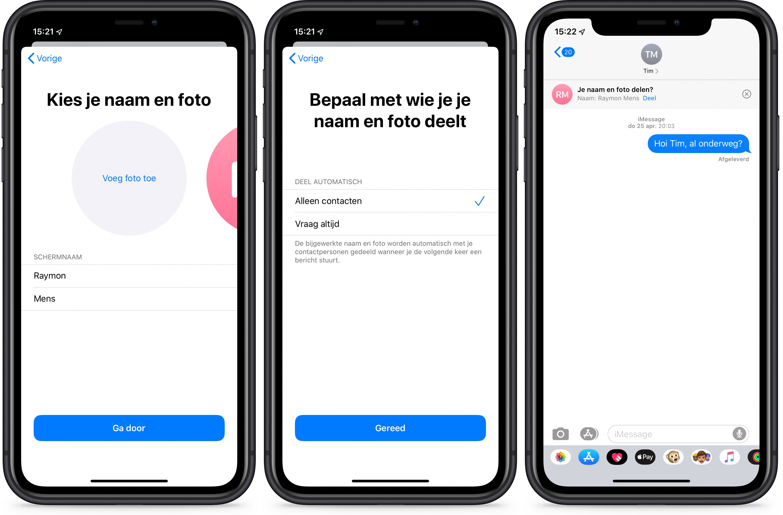 iOS 13 berichten-app iMessage foto delen