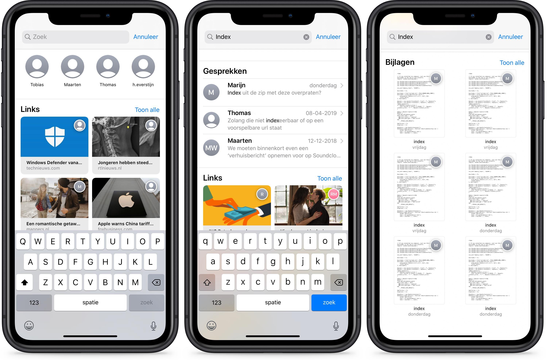 iOS 13 berichten-app iMessage zoekfunctie