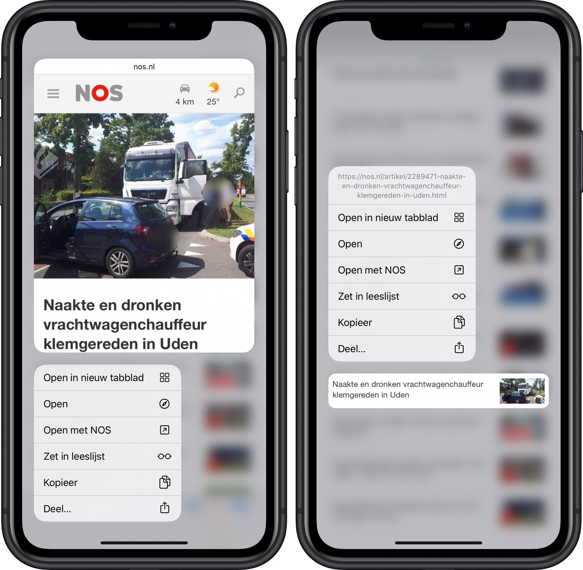 iOS 13 beta 2 linkvoorbeeld