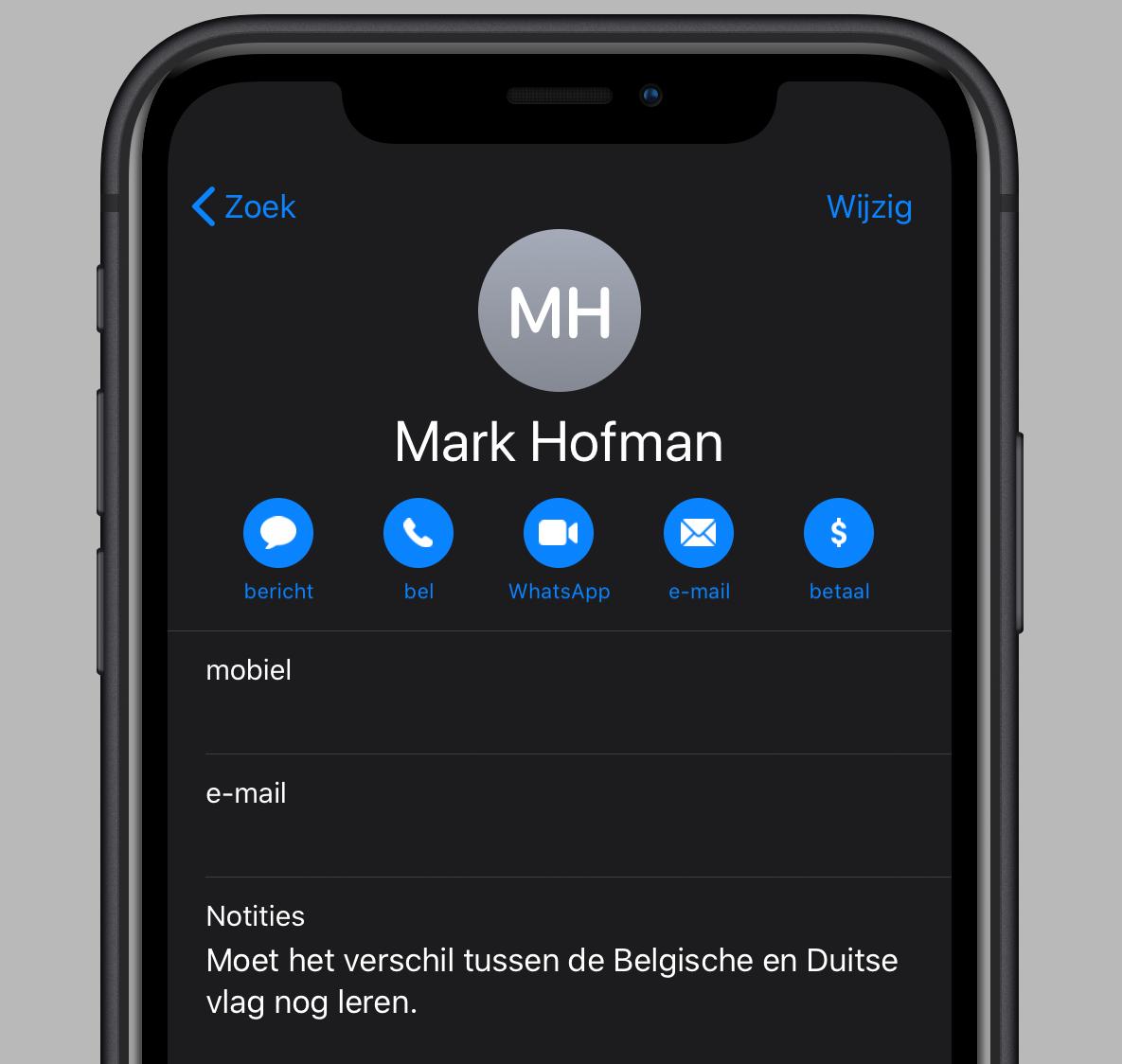 iOS 13 contacten