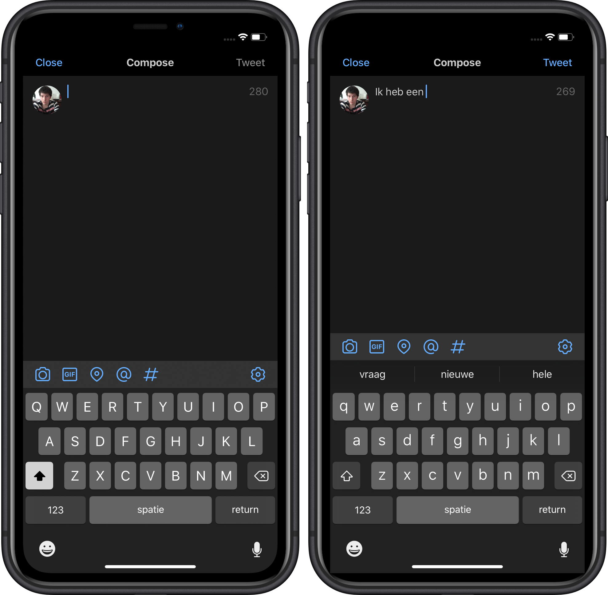 iOS 13 toetsenbord quicktype Nederlands 16x9